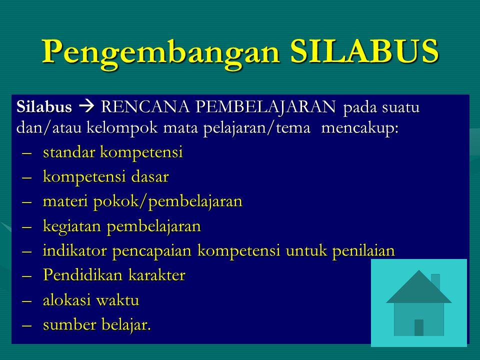 Pengembangan SILABUS Silabus  RENCANA PEMBELAJARAN pada suatu dan/atau kelompok mata pelajaran/tema mencakup: