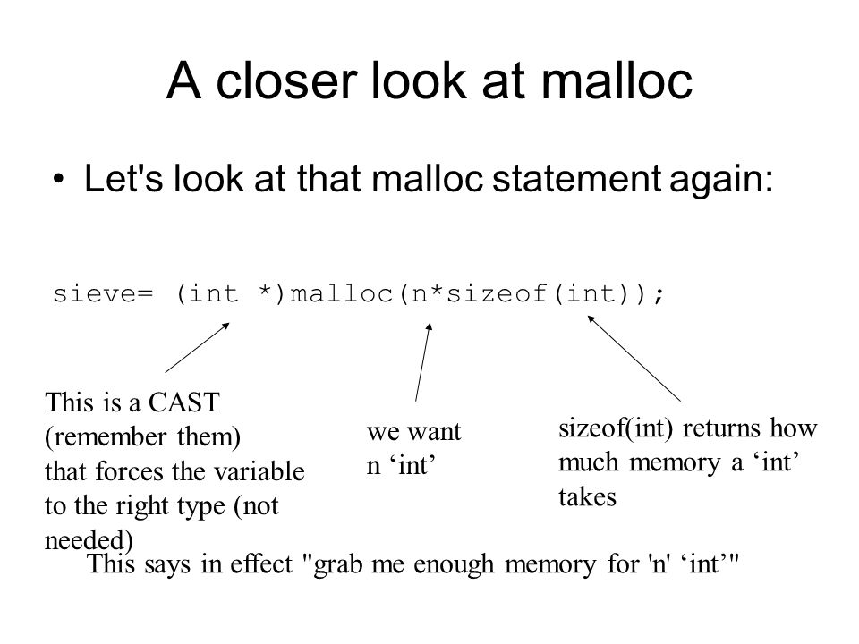 A closer look at malloc Let s look at that malloc statement again: