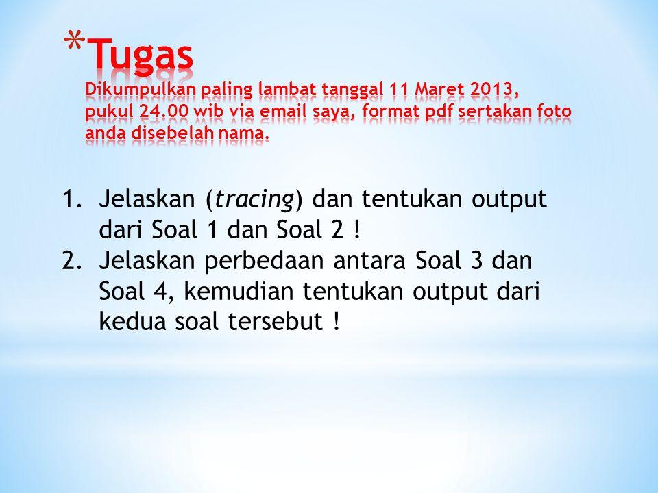 Tugas Dikumpulkan paling lambat tanggal 11 Maret 2013, pukul 24