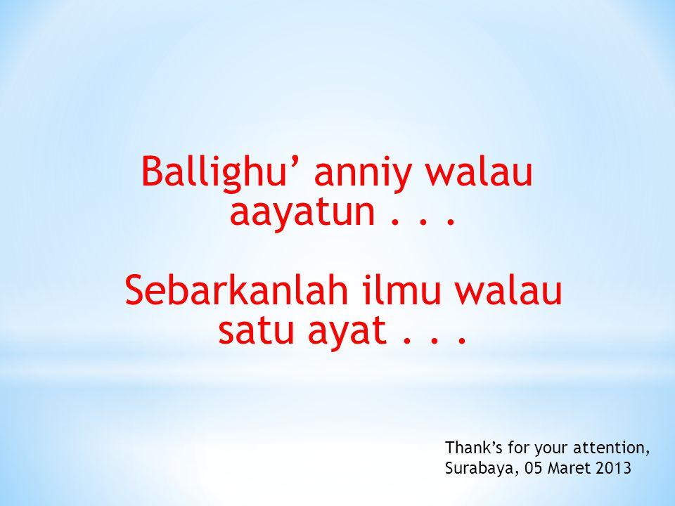 Ballighu' anniy walau aayatun . . . Sebarkanlah ilmu walau satu ayat . . .