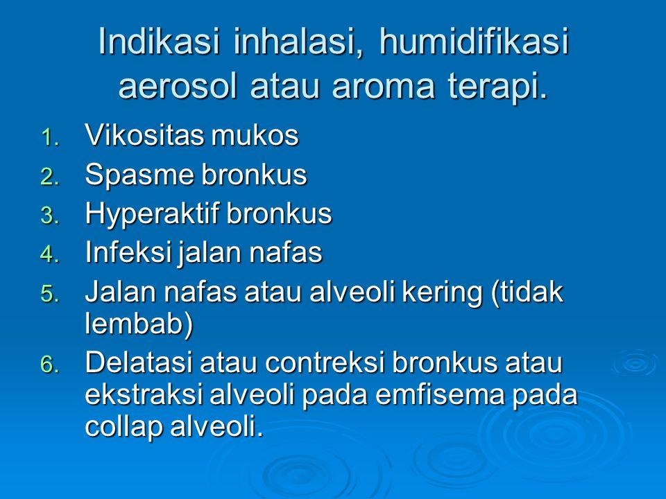 Indikasi inhalasi, humidifikasi aerosol atau aroma terapi.