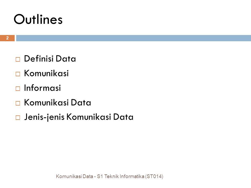 Outlines Definisi Data Komunikasi Informasi Komunikasi Data