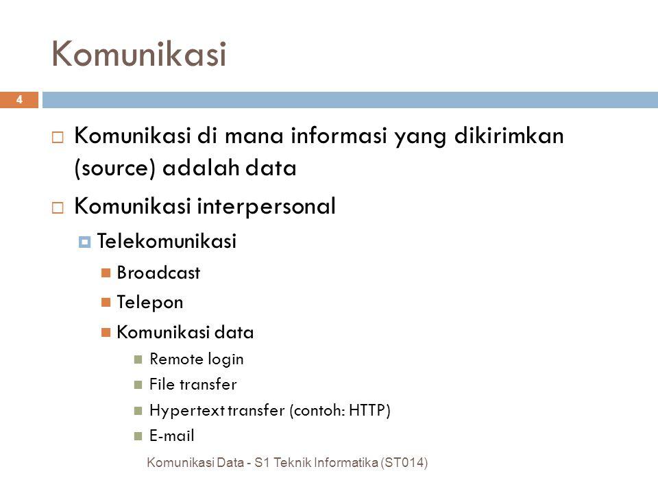 Komunikasi Komunikasi di mana informasi yang dikirimkan (source) adalah data. Komunikasi interpersonal.
