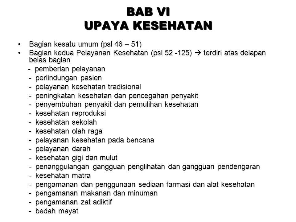BAB VI UPAYA KESEHATAN Bagian kesatu umum (psl 46 – 51)