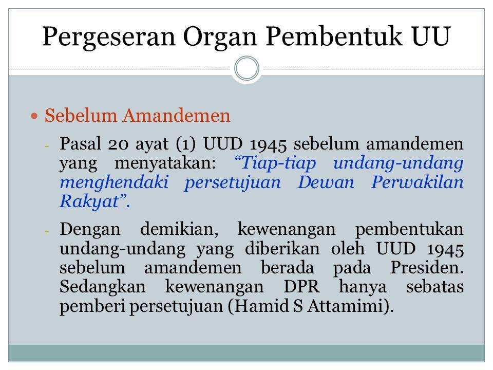 Pergeseran Organ Pembentuk UU