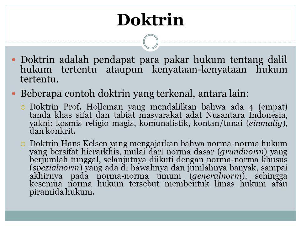 Doktrin Doktrin adalah pendapat para pakar hukum tentang dalil hukum tertentu ataupun kenyataan-kenyataan hukum tertentu.