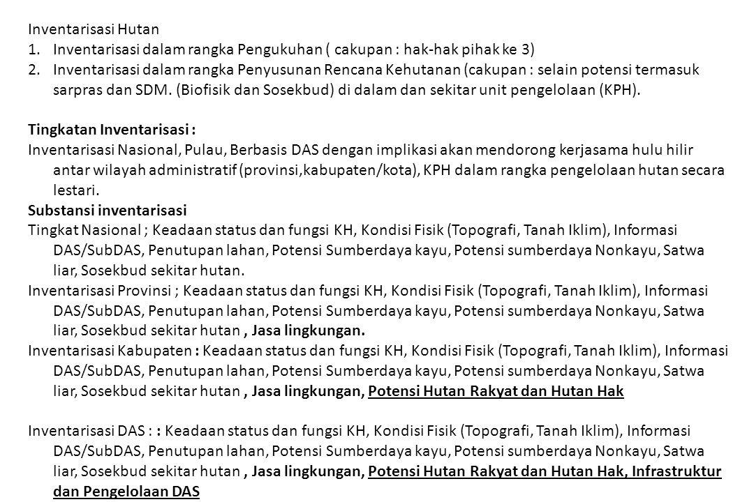 Inventarisasi Hutan Inventarisasi dalam rangka Pengukuhan ( cakupan : hak-hak pihak ke 3)