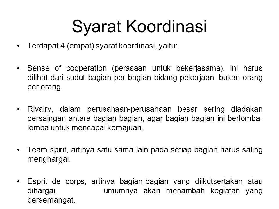 Syarat Koordinasi Terdapat 4 (empat) syarat koordinasi, yaitu: