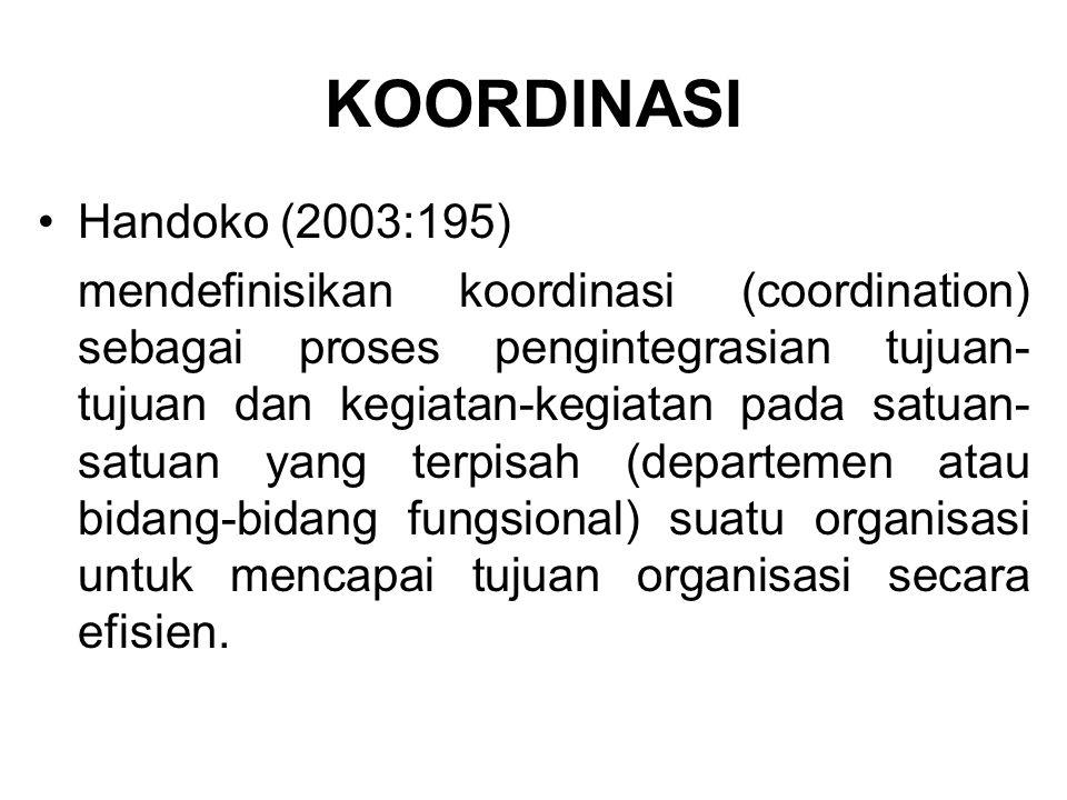 KOORDINASI Handoko (2003:195)
