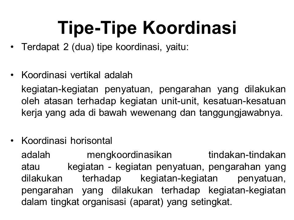 Tipe-Tipe Koordinasi Terdapat 2 (dua) tipe koordinasi, yaitu: