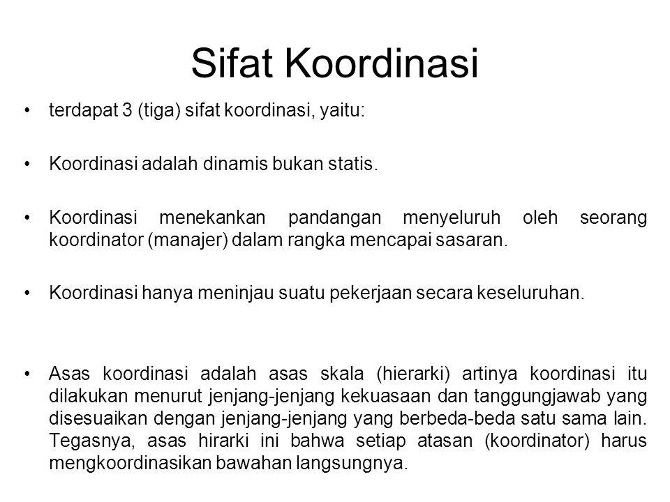 Sifat Koordinasi terdapat 3 (tiga) sifat koordinasi, yaitu: