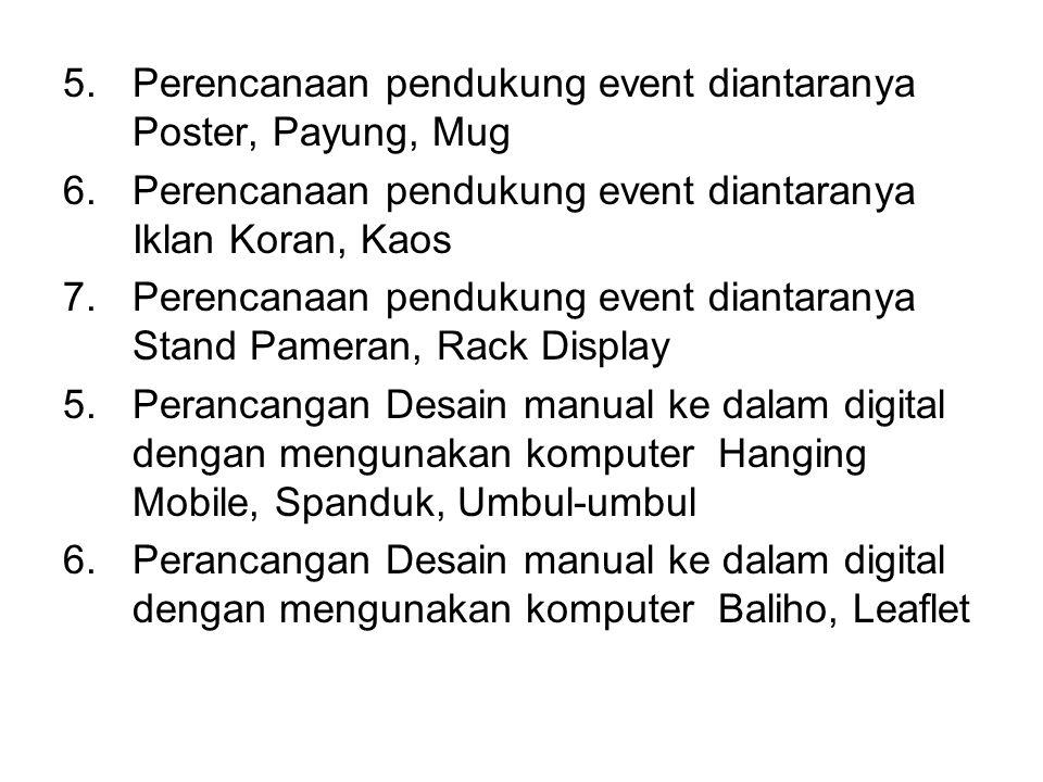 Perencanaan pendukung event diantaranya Poster, Payung, Mug