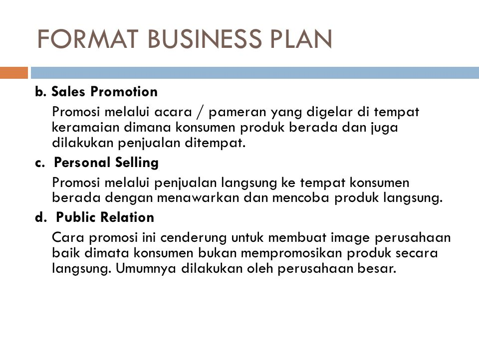 FORMAT BUSINESS PLAN