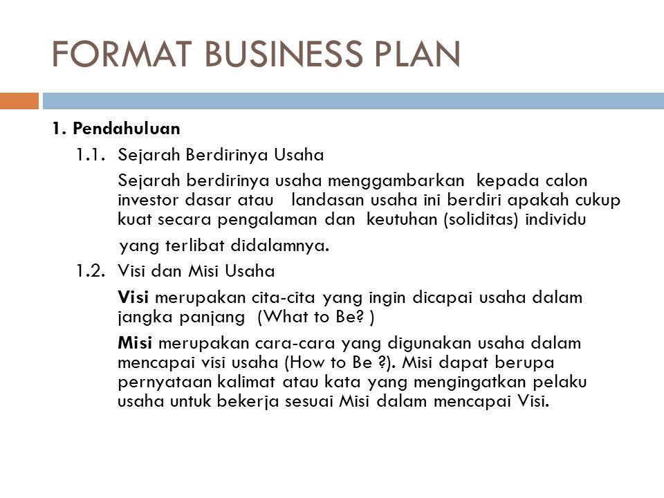 FORMAT BUSINESS PLAN 1. Pendahuluan 1.1. Sejarah Berdirinya Usaha