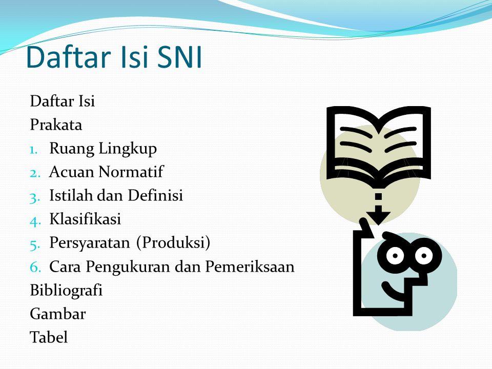 Daftar Isi SNI Daftar Isi Prakata Ruang Lingkup Acuan Normatif