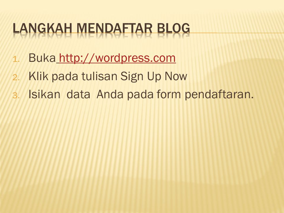 Langkah Mendaftar Blog