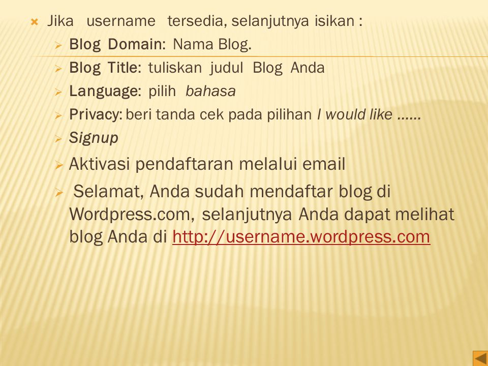 Aktivasi pendaftaran melalui email