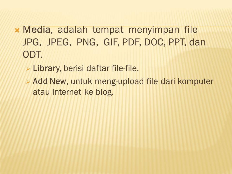 Media, adalah tempat menyimpan file JPG, JPEG, PNG, GIF, PDF, DOC, PPT, dan ODT.