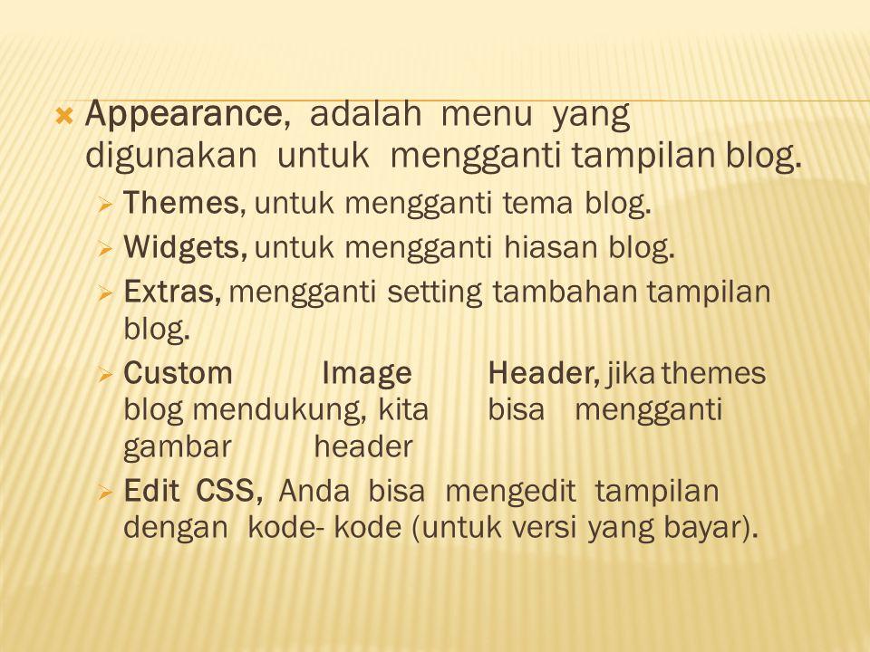 Appearance, adalah menu yang digunakan untuk mengganti tampilan blog.