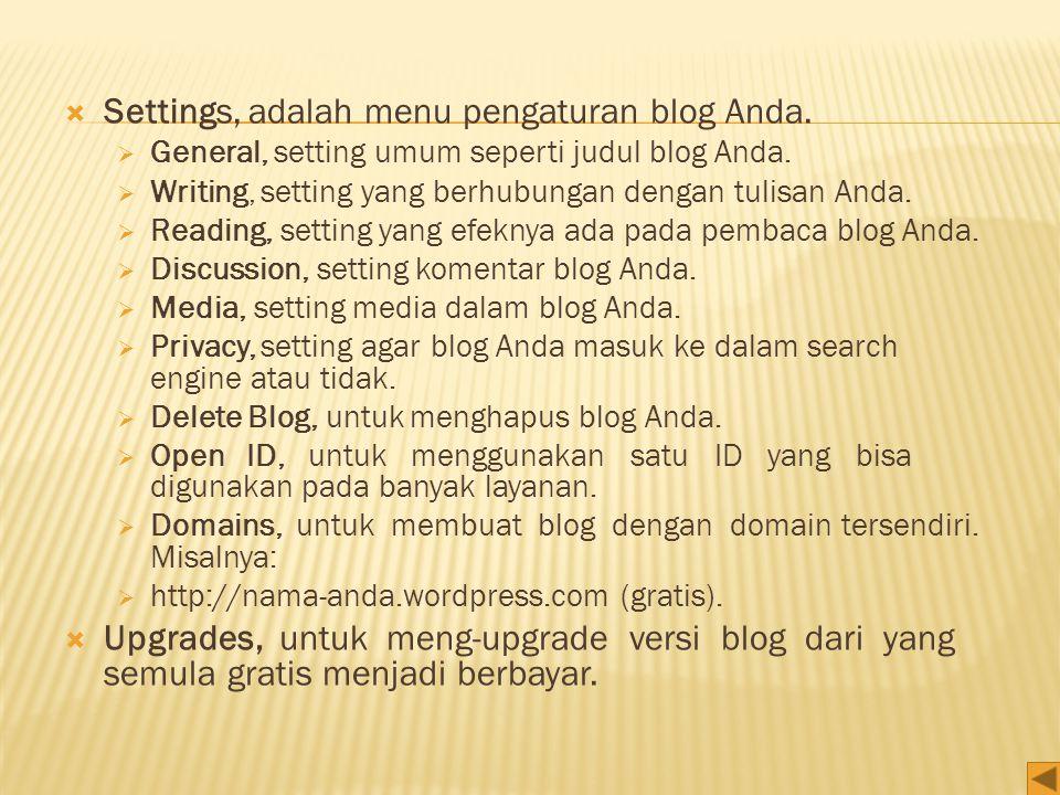Settings, adalah menu pengaturan blog Anda.