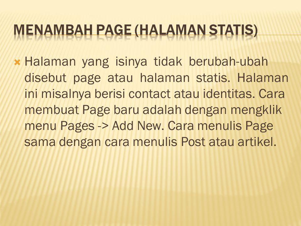 Menambah Page (Halaman Statis)