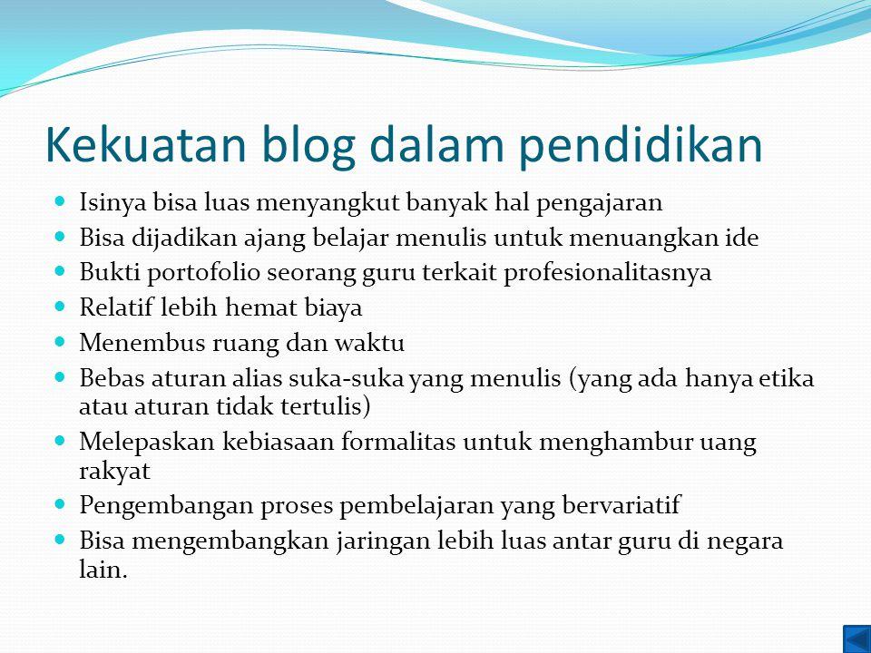 Kekuatan blog dalam pendidikan