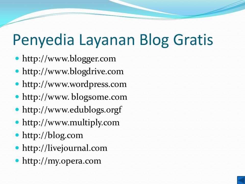 Penyedia Layanan Blog Gratis