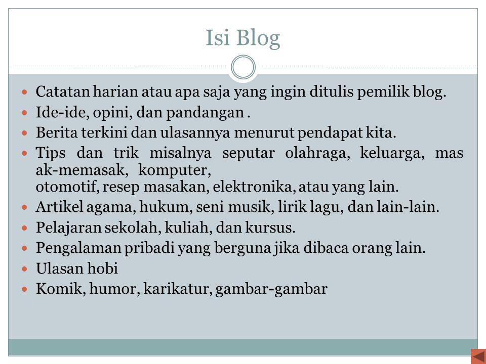 Isi Blog Catatan harian atau apa saja yang ingin ditulis pemilik blog.