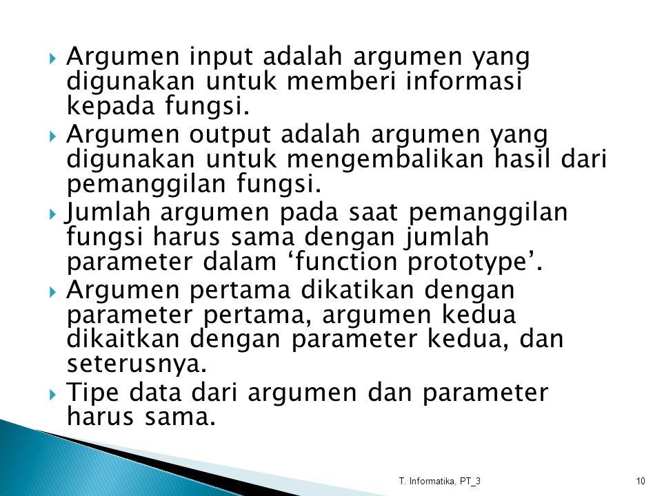 Tipe data dari argumen dan parameter harus sama.