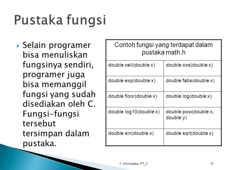 Contoh fungsi yang terdapat dalam pustaka math.h