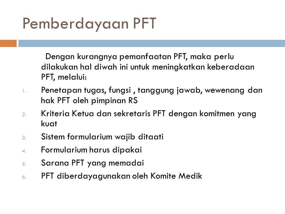 Pemberdayaan PFT Dengan kurangnya pemanfaatan PFT, maka perlu dilakukan hal diwah ini untuk meningkatkan keberadaan PFT, melalui: