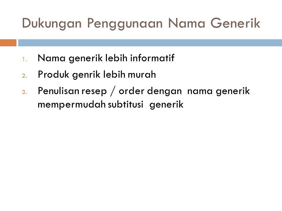 Dukungan Penggunaan Nama Generik