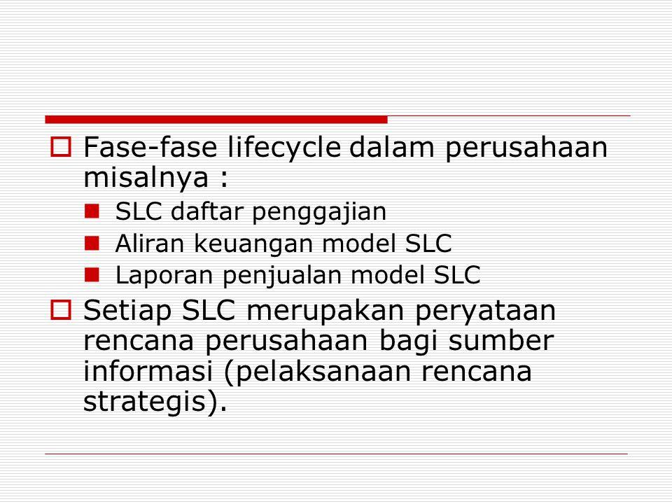 Fase-fase lifecycle dalam perusahaan misalnya :
