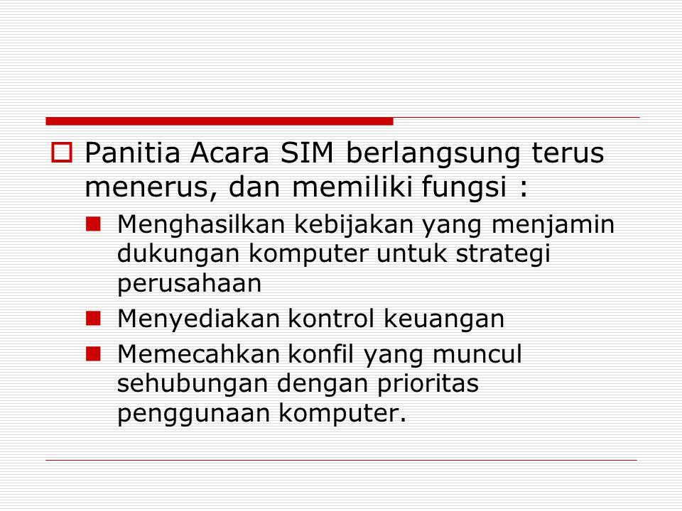 Panitia Acara SIM berlangsung terus menerus, dan memiliki fungsi :
