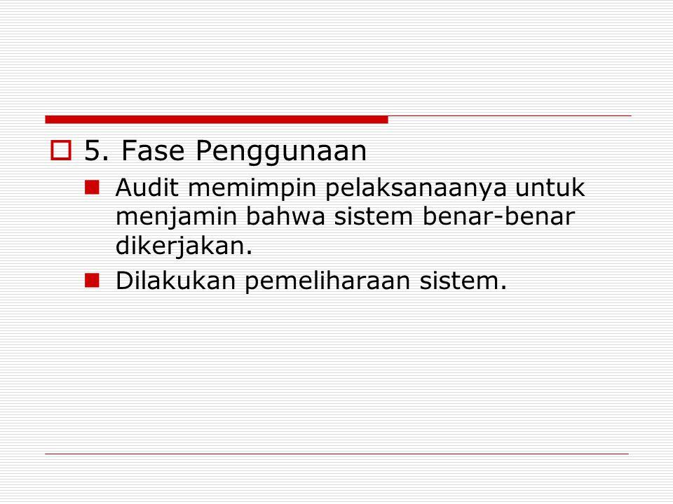 5. Fase Penggunaan Audit memimpin pelaksanaanya untuk menjamin bahwa sistem benar-benar dikerjakan.