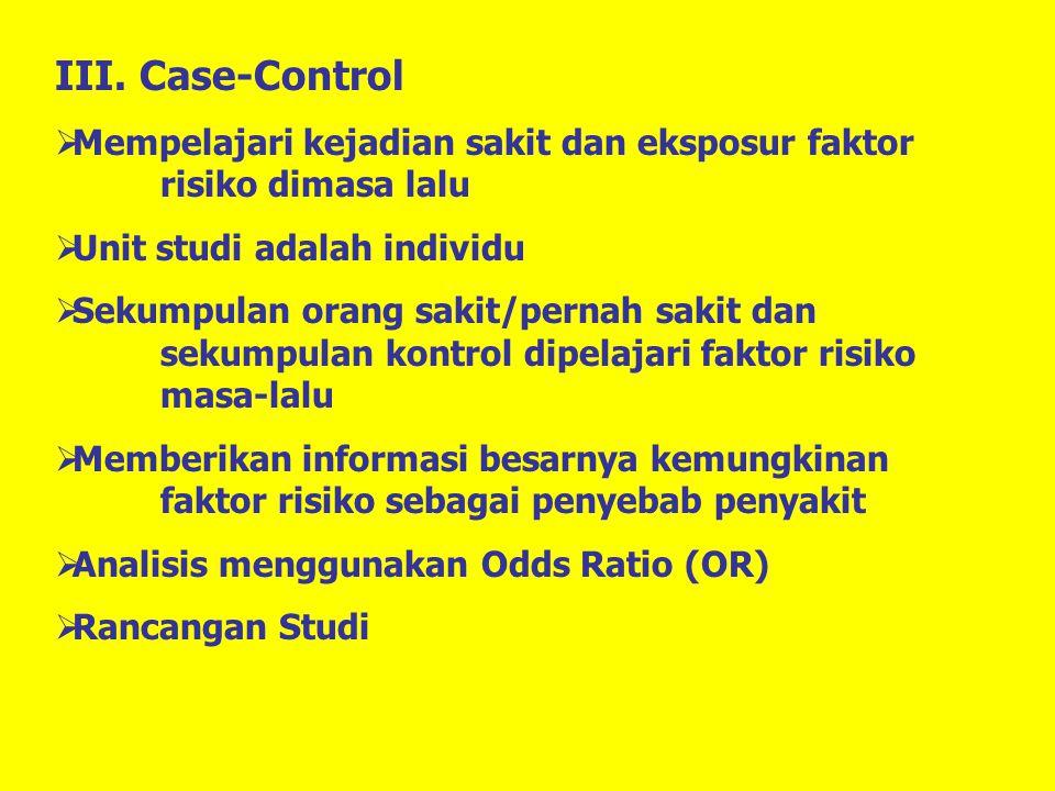 III. Case-Control Mempelajari kejadian sakit dan eksposur faktor risiko dimasa lalu. Unit studi adalah individu.