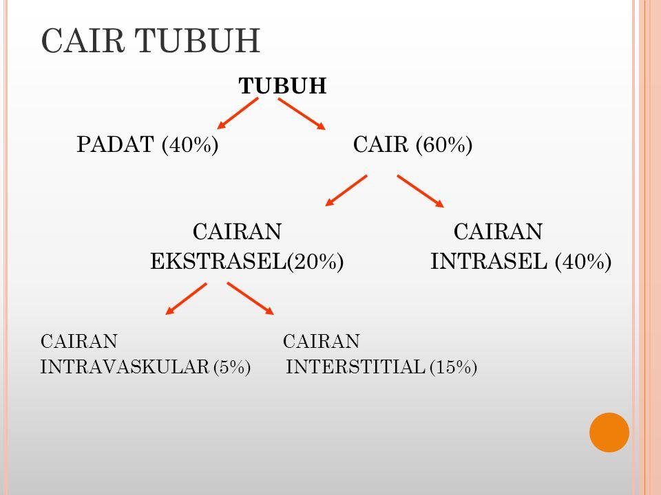 CAIR TUBUH PADAT (40%) CAIR (60%) CAIRAN CAIRAN