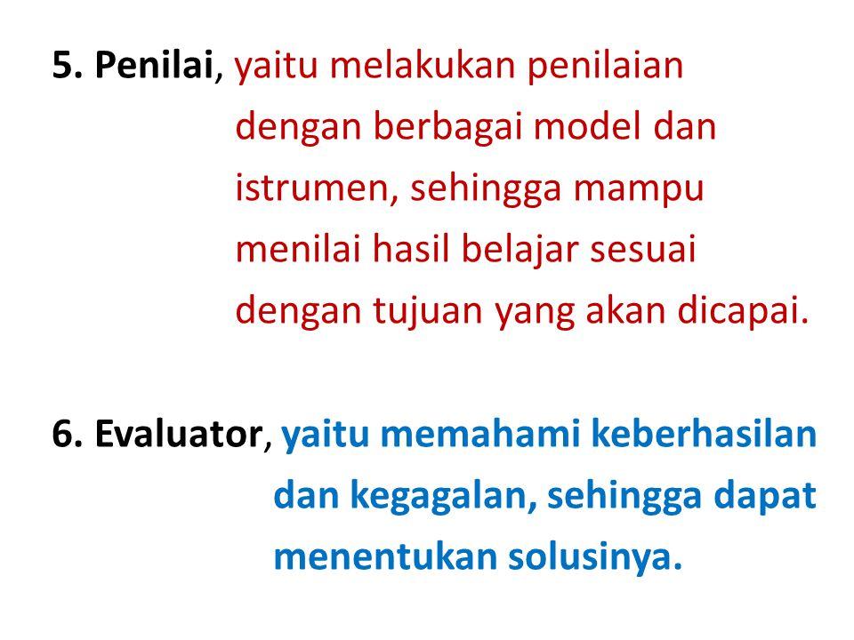 5. Penilai, yaitu melakukan penilaian