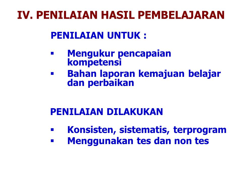 IV. PENILAIAN HASIL PEMBELAJARAN