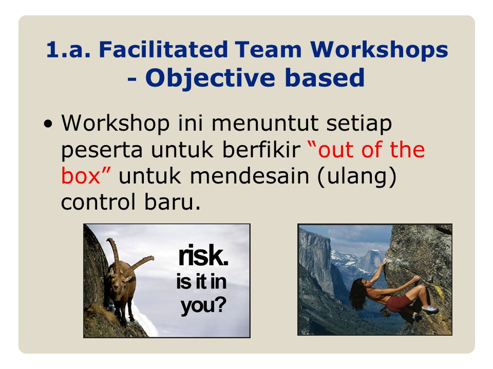 1.a. Facilitated Team Workshops - Objective based