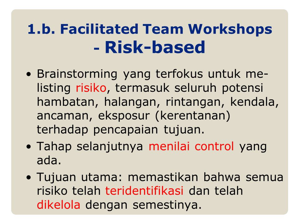1.b. Facilitated Team Workshops - Risk-based