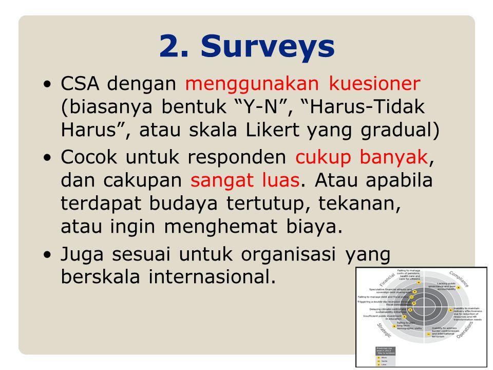 2. Surveys CSA dengan menggunakan kuesioner (biasanya bentuk Y-N , Harus-Tidak Harus , atau skala Likert yang gradual)