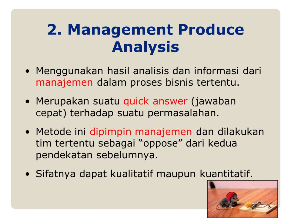 2. Management Produce Analysis
