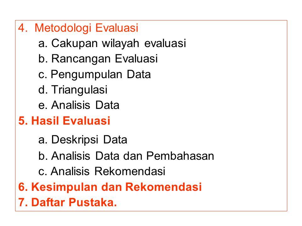 4. Metodologi Evaluasi a. Cakupan wilayah evaluasi. b. Rancangan Evaluasi. c. Pengumpulan Data. d. Triangulasi.