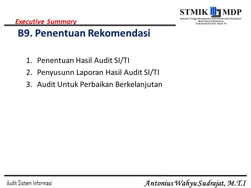 Executive Summary B9. Penentuan Rekomendasi