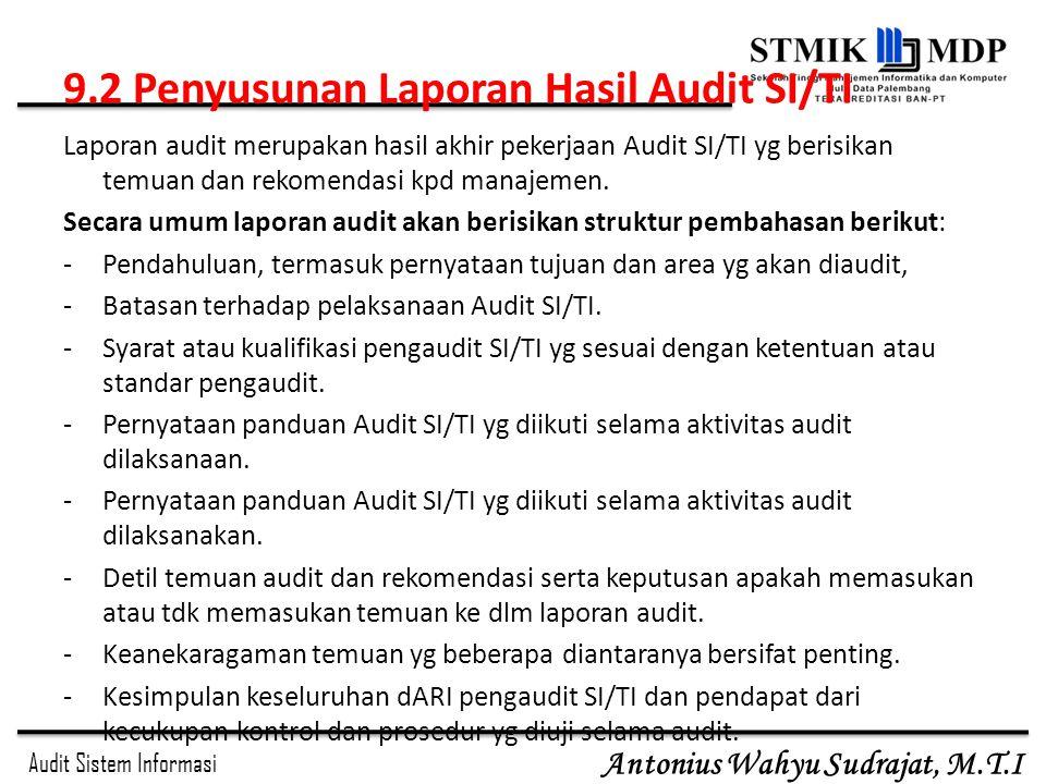 9.2 Penyusunan Laporan Hasil Audit SI/TI