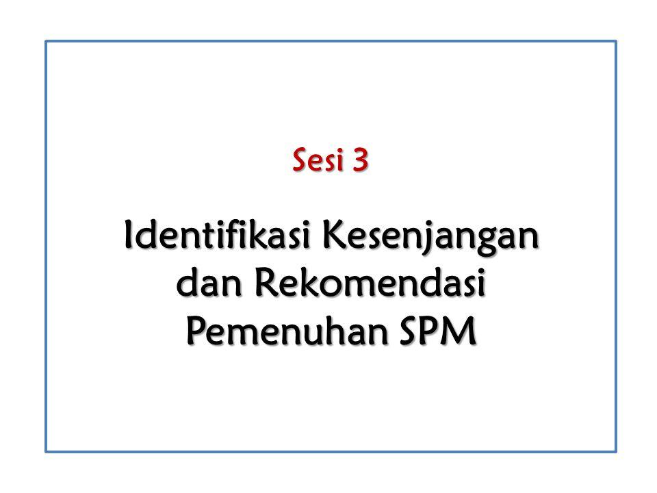 Sesi 3 Identifikasi Kesenjangan dan Rekomendasi Pemenuhan SPM