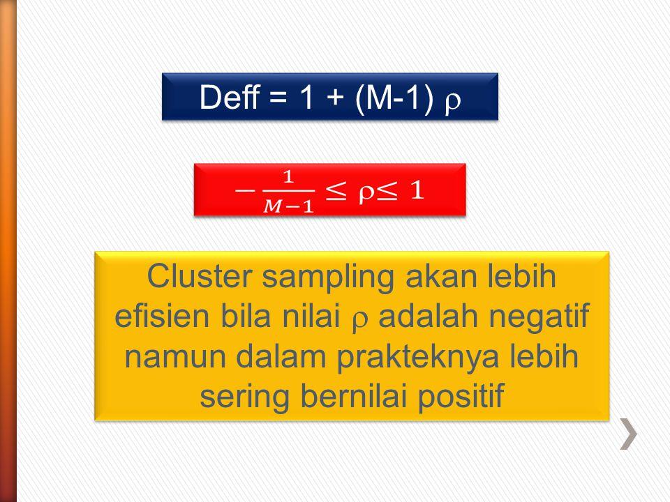 Deff = 1 + (M-1)  Cluster sampling akan lebih efisien bila nilai  adalah negatif namun dalam prakteknya lebih sering bernilai positif.
