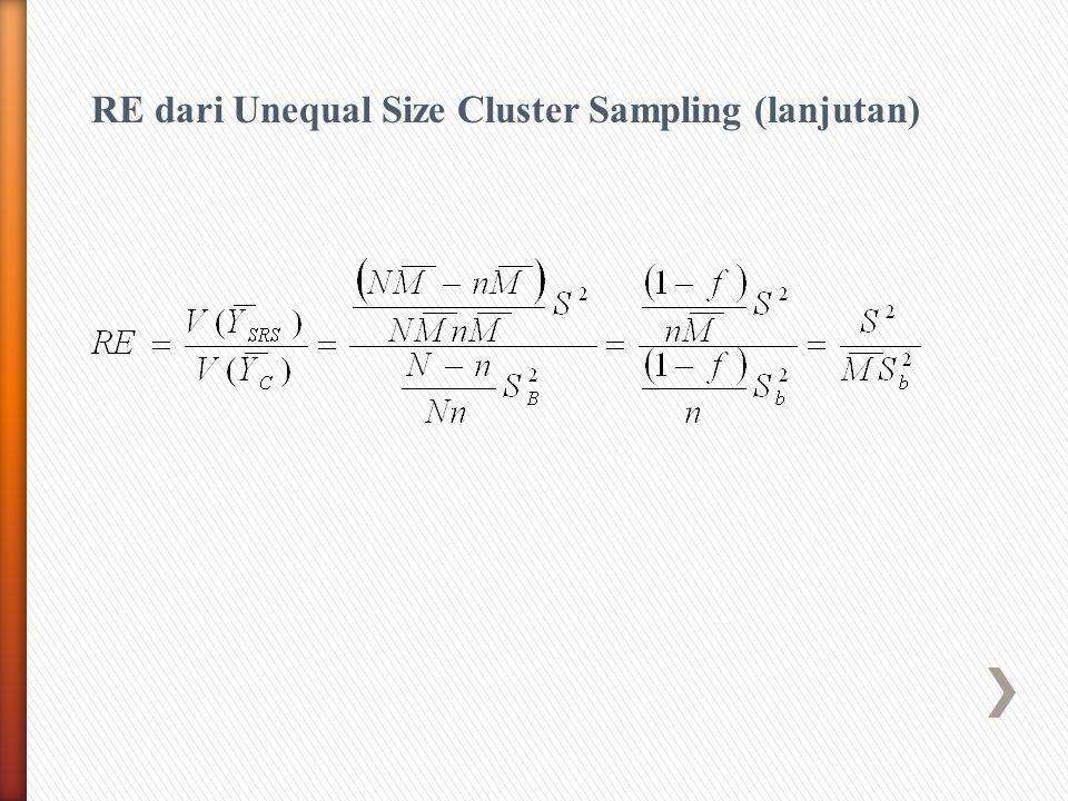 RE dari Unequal Size Cluster Sampling (lanjutan)