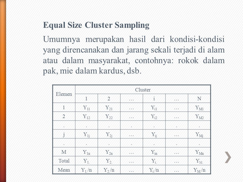 Equal Size Cluster Sampling
